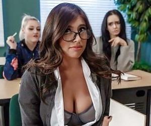 Gorgeous teacher fucks with a big-boobed foreign hottie Ella Knox
