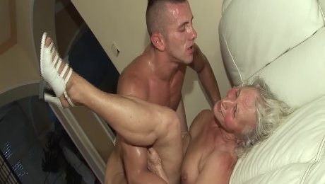 Busty old granny pounded in hairy pussy